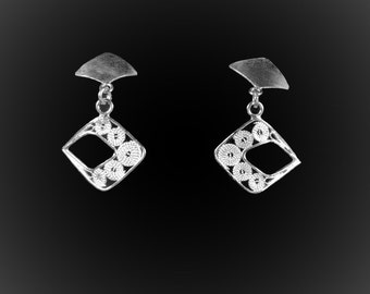 Silver embroidery Wajik earrings