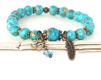 OM Armband, Türkis Yoga Stretch-Armband, Ruhe, Kraft und Hoffnung spirituelle Schmuck