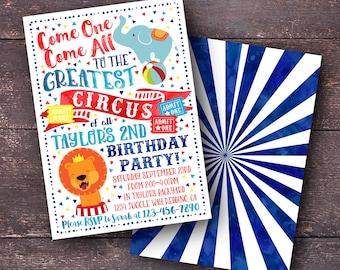 Circus Invitation, Circus Birthday Invitation, Circus Party Invitation, Carnival Invitation, Carnival Birthday Invitation