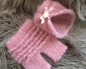 Newborn Girl  Photo Prop ,Baby girl Shorts with Ruffles,Mohair Hat,Mohair shorts,Knitted baby shorts and hat