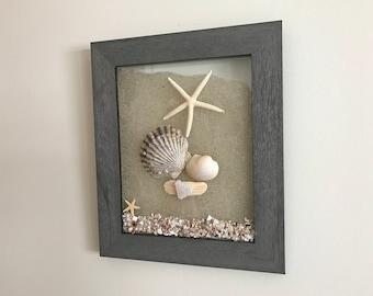Seashell Decor, Coastal Wall Art, Beach Decor, Coastal Beach Decor, Starfish Accent, Decorative Frame