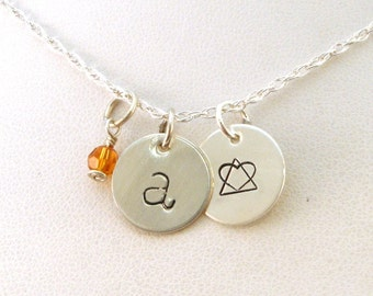 Gotcha Day Gift - Letter and Birthstone Necklace with Adoption Symbol - Sterling Silver Jewelry