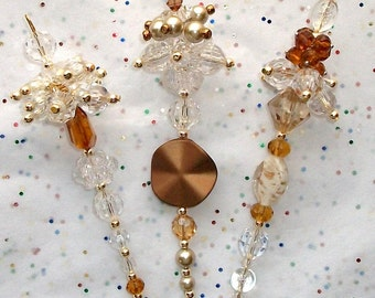 Christmas Ornaments, Golden Brown, Holiday, Glimmering,  Dangles Set of three  (6)