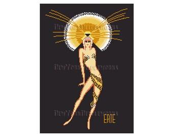 Erte Art Deco Woman, Erte Cross Stitch, Leopard Cross Stitch, Art Deco Cross Stitch, Art Deco, Cross Stitch Woman, NewYorkNeedleworks Etsy