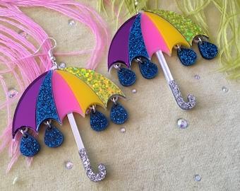 Rainbow Umbrella and Glitter Raindrop Earrings, Laser Cut Acrylic, Plastic Jewelry