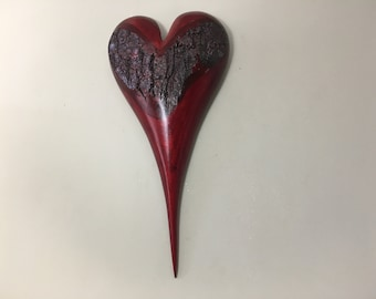 Heart red Myrtle wood wooden 50th Anniversary gift wall hanging present