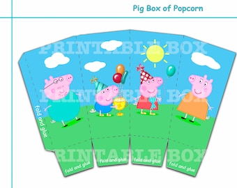 Funny Pig box of popcorn, Party decoration,  Printable box, Funny Pig party supplies, Funny Pig , digital download, party favor
