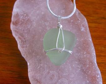 Beautiful Sea Foam Green Real Lake Superior Beach Glass Pendant Necklace