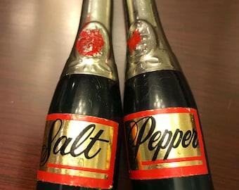 Vintage Champagne Bottle Salt and Pepper Shakers, Party Salt and Pepper Shakers, collectible salt pepper shakers, bottle salt pepper, Gift