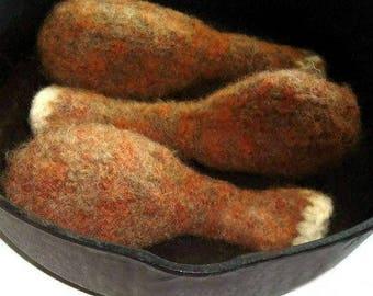 Cat Toy, Southern Fried Chicken Leg, Drumstick, HandKnit, Felted Wool, Gift for Cat, Catnip Valerian Wool Fleece, Original