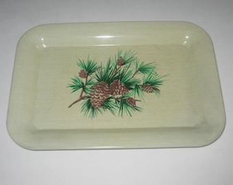 Metal Tray Mini Pinecones Tips Jewelry Keys Holder Vintage 1950's Free Shipping