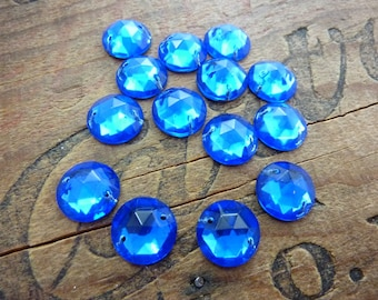 Vintage Glass Sew On Two Hole Sew On Faceted Glass Sew On Beads Sapphire 13mm (4)
