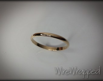 Shiny 14k SOLID Yellow Gold Ring or 14k SOLID White Gold Ring or 14k Solid Rose Gold Ring 2mm Plain Band