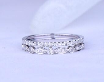 Diamond wedding ring set diamond wedding band solid 14k white gold half eternity ring milgrain wedding band stacking matching band