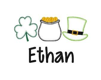 St Patrick's Day Lucky Trio Applique, Clover Applique, Leprechaun Hat Applique, Pot of Gold Applique, Boy St Patrick's, Girl St. Patrick's