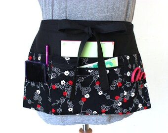 Vendor apron - Waitress apron - Teacher Apron - black half apron with zipper pocket - server apron - utility apron - half apron  waist apron