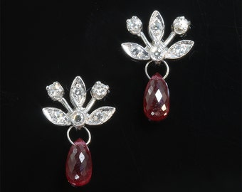 Vintage! 14K White Gold Diamond and Ruby Briolette Earrings