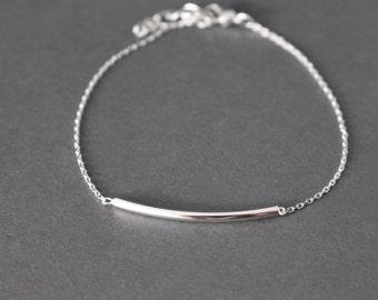 Silver bar bracelet // Curved Bar bracelet