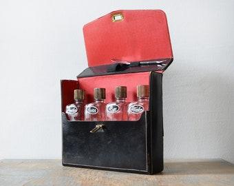 mid century travel decanter set, 60s portable bar with case, vintage travel bar, bourbon, rye, scotch glass liquor bottles, 1960s barware