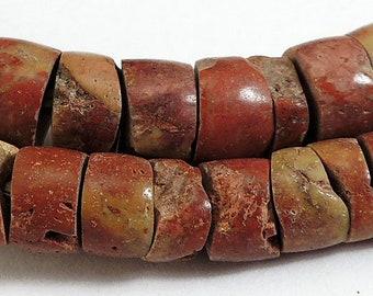 Bauxite Stone Carved Beads Ghana Africa 76890