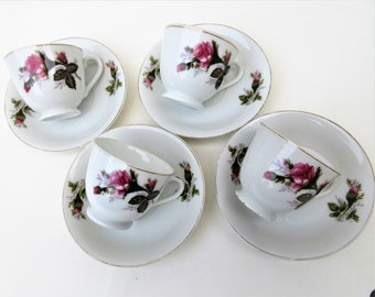 Vintage Moss Rose Tea Set | Moss Rose China | Demitasse Cups | Cups and Saucers | Espresso Cups and Saucers | Set of 4