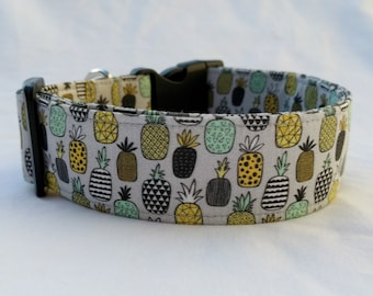 Pineapples on Grey-Buckle or Martingale Dog Collar-Novelty Foodie Collar- Boy Dog Collar-Girl Dog Collar-Pineapple Dog Collar