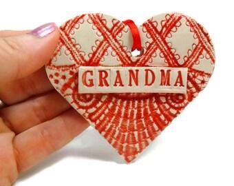 Grandma Heart Ornament, Valentine Heart, Grandma Christmas, Gift for Grandma, Mother's Day GIft, Grandma Birthday, New Grandmother