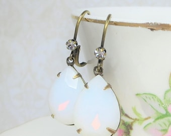 White Fire Opal Earrings White Opal Earrings Vintage Style October Birthstone Bridal Wedding Jewelry Gift