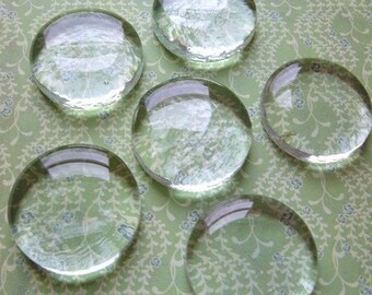 4 Medium Molded Perfectly Round Flat Bottom Clear Glass Circles