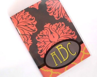 Monogrammed Passport cover - Baroque Damask - personalized passport holder - coral, grey, mustard, customize with your initials