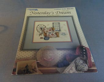 Counted Cross Stitch Pattern, Paula Vaughan Yesterdays Dream, Book 3, Leisure Arts 449, 1986 Quilt, Spinning Wheel, Basket