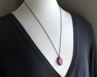 Hot Pink Druzy Necklace, Candy Pink Drusy Oxidized Sterling Silver Pendant Necklace - Lipstick - Ready to Ship