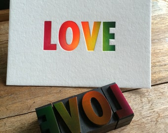 Letterpress typeset wood print - Love