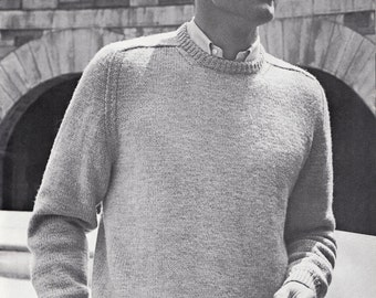 Knit Mens Round Neck Pullover with Saddle Shoulders Vintage Knitting PDF PATTERN