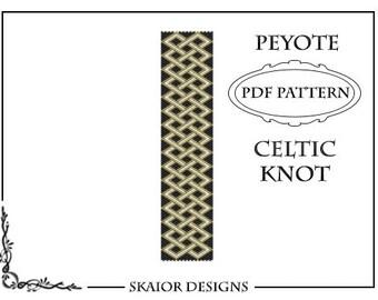 Peyote Bead Pattern Celtic Knot Bracelet Seed Bead Peyote Beading Pattern Tribal Folk Geometric Black Gold Belt Bookmark PDF Celtic Pattern