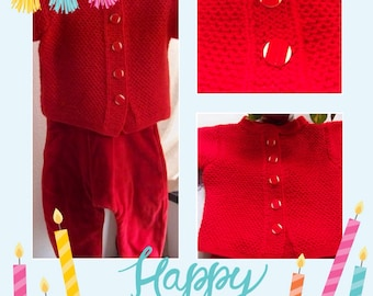 Red overalls and vest set