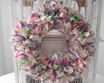 boho rag wreath fabric wreath wedding decor cottage chic wreath country chic door wreath bohemian wedding wreath 15 inch ready to ship