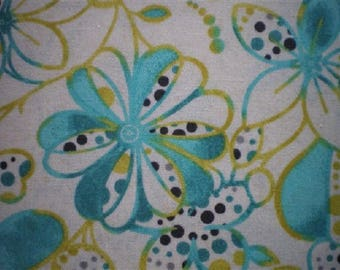 patchwork fabrics ref6171pb yellow and turquoise flowers
