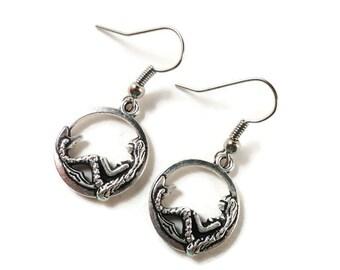 Silver Mermaid Earrings, Mermaid Charm Earrings, Nautical Jewelry, Teen Jewelry, Gifts Under 5 Dollars, Gift for Her, Hoop Earrings