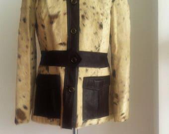 "1970s Calf Hair & Leather Blazer Jacket Chest 40"""