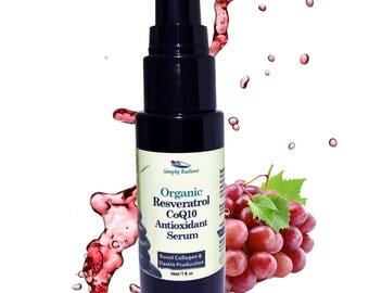 Organic Collagen Anti Aging Serum w Resveratrol CoQ10 Antioxidant Firming boosts collagen production, smooths fine lines & wrinkles