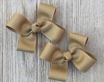 Hair Bows,Khaki Hair Bows,Pigtail Hair Bows,3 Inch Hair Bows,Alligator Clip Bows,Non Slip Hair Bows