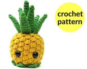 Pineapple amigurumi pattern - kawaii pineapple, fruit amigurumi, cute crochet pineapple, cute stuffed animal, crochet pattern