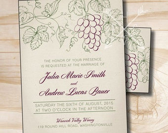 RUSTIC VINEYARD Wedding Invitation and Response Card Invitation Suite