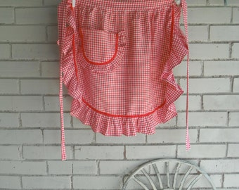 vintage apron red gingham apron cottage style apron cottage chic french country apron kitchen apron cotton apron ladies apron retro apron