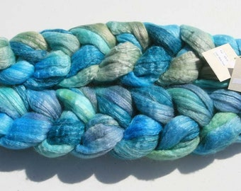 Polwarth Tussah Silk Spinning Fiber - 'Misty Pond'
