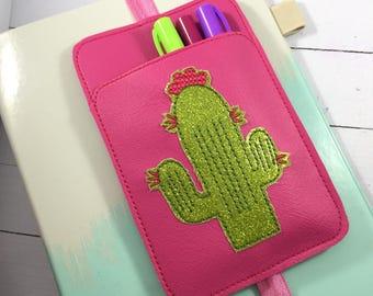 Cactus Pen Holder planner band -planner accessories - pen pocket holder -best gifts for her -fits happy, erin condren, mambi, bullet journal