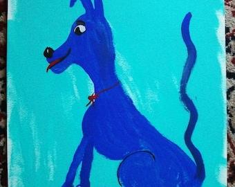 Whimsical  Folk Art  Happy Blue Dog--- marked 1/2 off