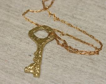 Brass Key Pendant , Brass Antique Key Pendant ,Old Brass Key Necklace , Brass Jewelry, Statement Pendant,