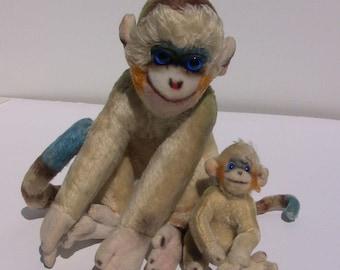 Vintage Stieff Monkey - Large and Small, Stuffed Animals